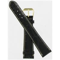 Authentic DeBeer 19mm Black Baby Crocodile Grain with White Stitches watch band