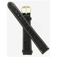 Authentic DeBeer 16mm Black Baby Crocodile Grain with White Stitches watch band