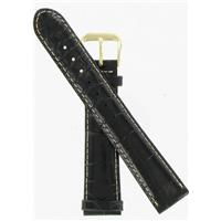 Authentic DeBeer 18mm Black Baby Crocodile Grain with White Stitches watch band