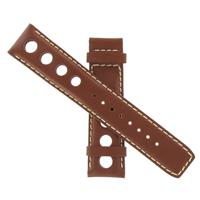 Authentic Tissot 20mm Brown Leather w/ White Stitching watch band