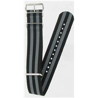 Authentic Nato Bands 18mm Black/Grey Striped Nylon watch band