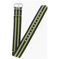 Authentic Nato Bands 20mm Black/Green Nylon watch band