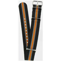 Authentic Nato Bands 20mm Black/Orange/Gray Nylon watch band