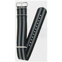 Authentic Nato Bands 16mm Black/Grey Striped Nylon watch band